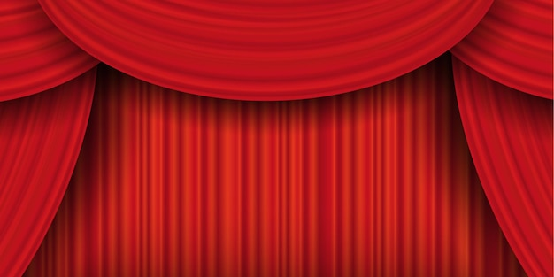 Tende rosse, tenda chiusa di lusso realistico. drappeggi teatrali, lambrequin in tessuto per drappeggi interni in tessuto decorativo. illustrazione vettoriale