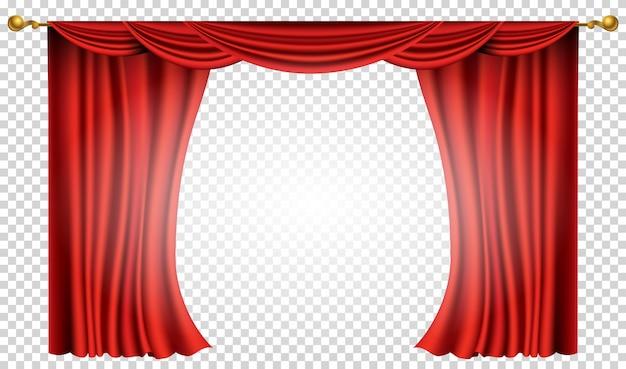 Tende rosse realistiche. decorazione in tessuto di seta per teatro per cinema o teatro dell'opera. oggetto d'arredo per tende e tendaggi. isolato su trasparente per palcoscenico