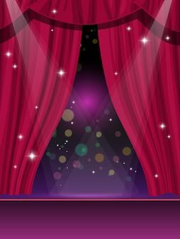 Tende rosse sul palco, circo o teatro e cinema mostrano sfondo vettoriale. tende rosse o drappi di velluto con riflettori, teatro dell'opera o luna park, palcoscenico del circo di carnevale e spettacolo teatrale del cinema