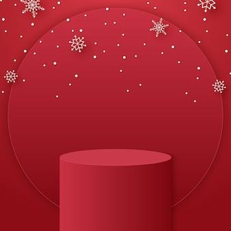 Podio cilindro rosso per lo sfondo del prodotto e fiocchi di neve e modello di modello per natale