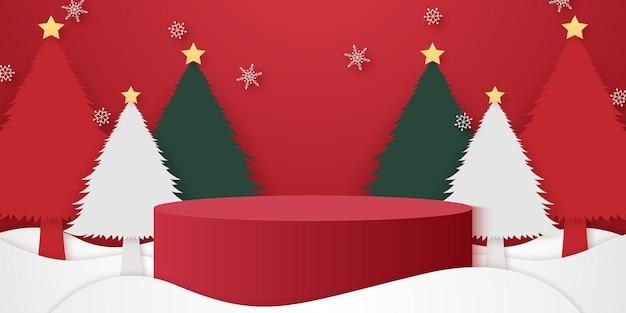 Podio cilindrico rosso sulla neve con fiocchi di neve che cadono sugli alberi di natale e modello di modello per l'evento