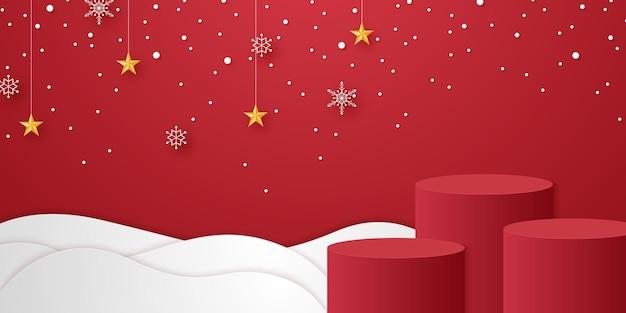 Podio cilindrico rosso sulla neve con fiocchi di neve e stella appesa per modello modello per evento natalizio