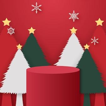 Podio cilindrico rosso con albero di natale e modello di caduta di fiocchi di neve per eventi in arte cartacea