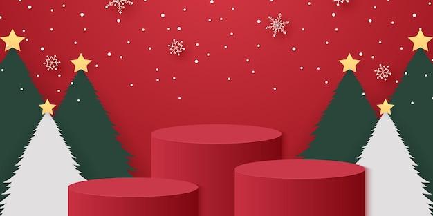 Podio cilindrico rosso con fiocchi di neve che cadono sugli alberi di natale e modello di modello per evento