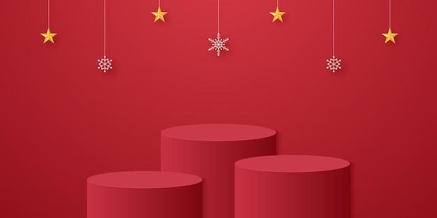 Podio cilindrico rosso con fiocchi di neve e stelle appese e modello simulato per l'evento di natale