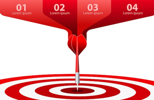 Bersaglio rosso del dardo. concetto di successo aziendale. illustrazione di idea creativa isolata