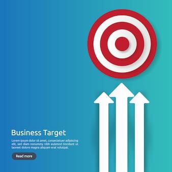 Obiettivo centrale del bersaglio rosso. strategia di successo e design piatto di successo aziendale. obiettivo e freccia del dardo di tiro con l'arco per l'insegna o il fondo. concetto con l'illustrazione dell'icona del dollaro e del grafico