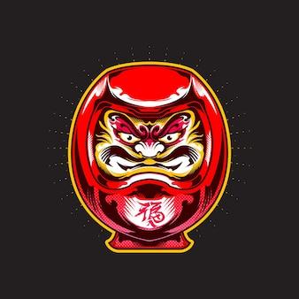 Bambola daruma rossa in stile giapponese