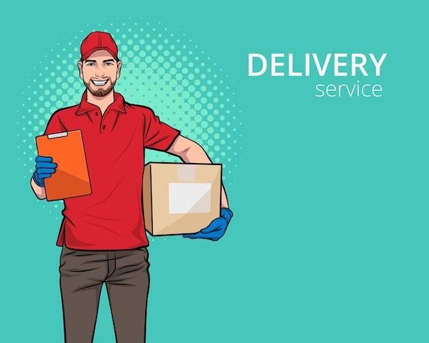 Red delivery uomo servizio dipendente con una grande scatola pop art comic style