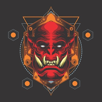 Geometria sacra testa di demone rosso Vettore Premium