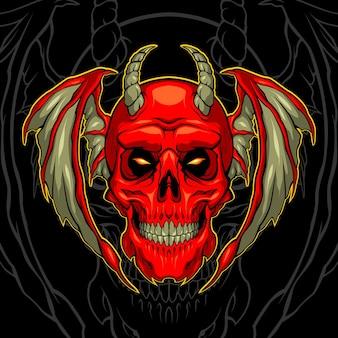 Teschio demone rosso