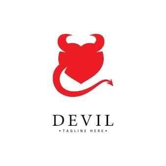 Modello icona vettore logo red devil