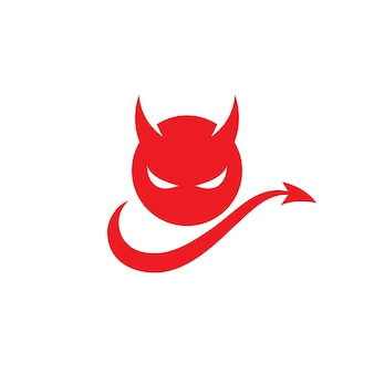 Modello icona di vettore del logo del diavolo rosso
