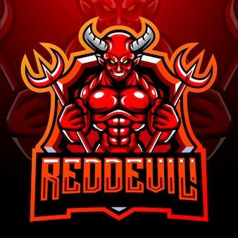 Mascotte del diavolo rosso. design del logo esport
