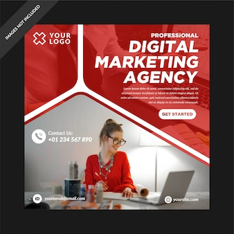 Red digital marketing social media post instagram