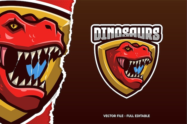 Modello di logo di e-sport di dinosauro rosso