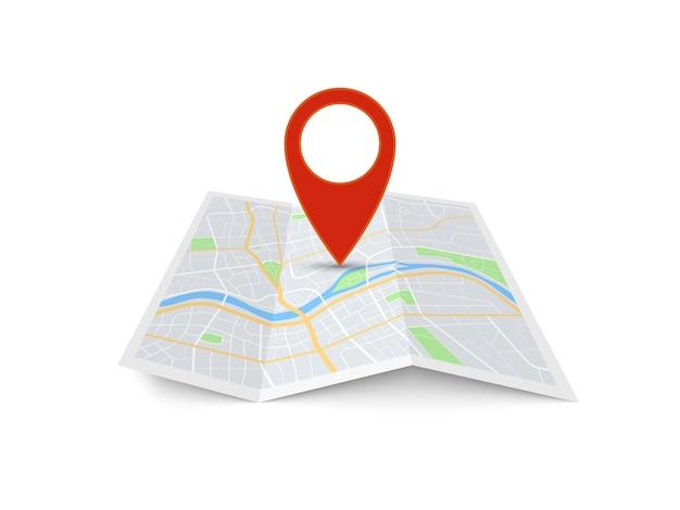 Puntatore di direzione rosso sulla mappa della città piegata