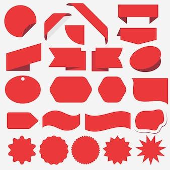 Set adesivo rosso sconto. pubblicità, banner di vendita per negozio web. elemento ad angolo promozionale. adesivi prodotto con offerta.