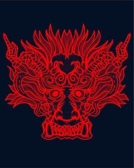 Illustrazione di opere d'arte del drago rosso
