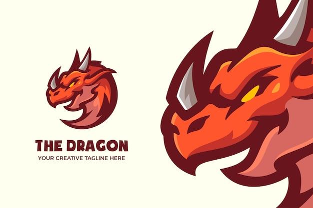 Modello logo mascotte dei cartoni animati drago rosso