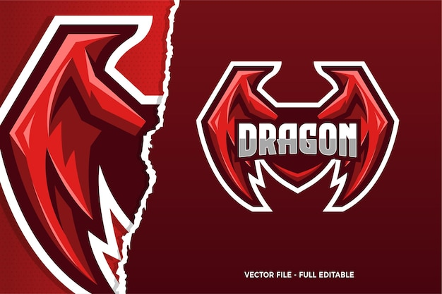 Red dragon e-sport game logo modello