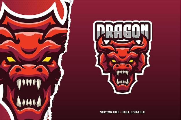 Modello di logo del gioco red dragon e-sport