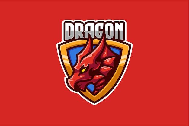 Red dragon e-sport logo modello