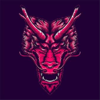 Faccia di drago rosso