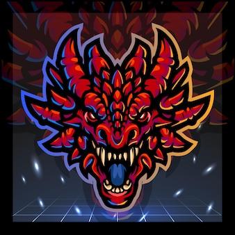 La mascotte della testa di drago rosso esport logo design