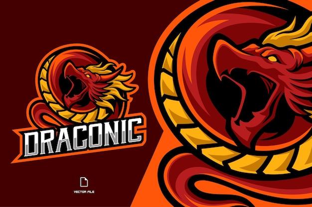 Modello di illustrazione del logo di gioco esport mascotte drago rosso