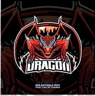 Modello di logo della mascotte del drago rosso
