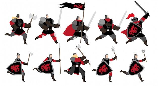 Set di caratteri di red dragon warriors
