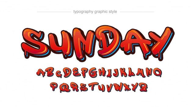 Tipografia stile tag graffiti 3d gocciolante rosso