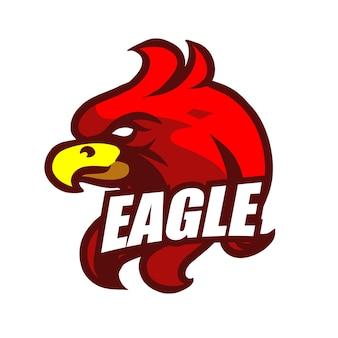 Logo di gioco mascotte testa di aquila rossa