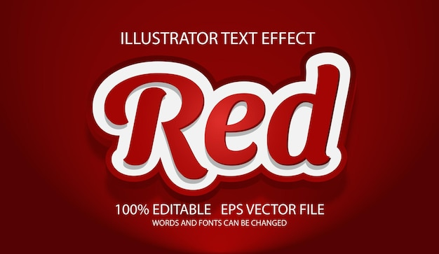 Effetto di testo 3d modificabile rosso o stile grafico