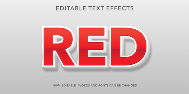 Effetto di testo modificabile rosso Vettore Premium