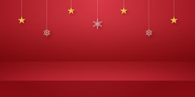 Sala studio vuota rossa per lo sfondo del prodotto con fiocco di neve e stella appesa mockup per natale