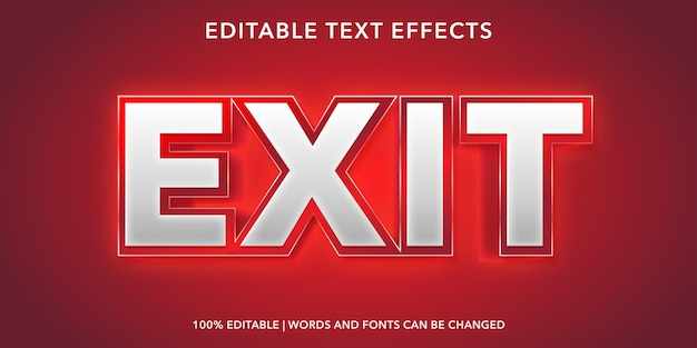 Red exit editable text effect