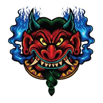 Rosso grasso mitica illustrazione malvagia