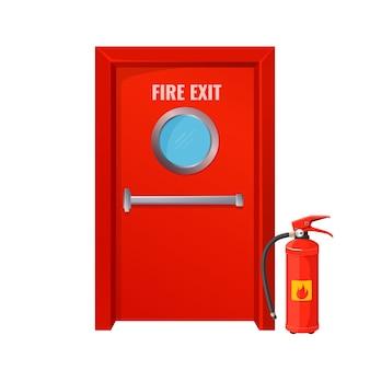 Uscita antincendio rossa con cerchio tondo ed estintore. grande porta di emergenza di colore brillante. misure per prevenire la diffusione della fiamma fumetto isolato.