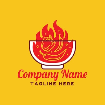 Red fire hot chili e pepe con il modello del logo della ciotola su sfondo giallo