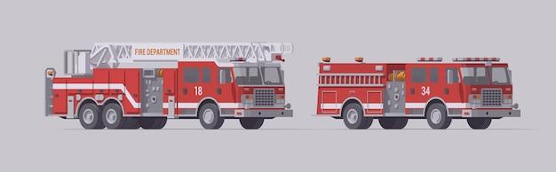Set di camion dei pompieri rosso. tipo 1 autopompa antincendio di salvataggio e autopompa antincendio di salvataggio su scala.