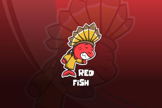 Design mascotte pesce rosso esport. indiano