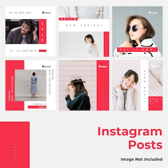 Red flat social instagram banner