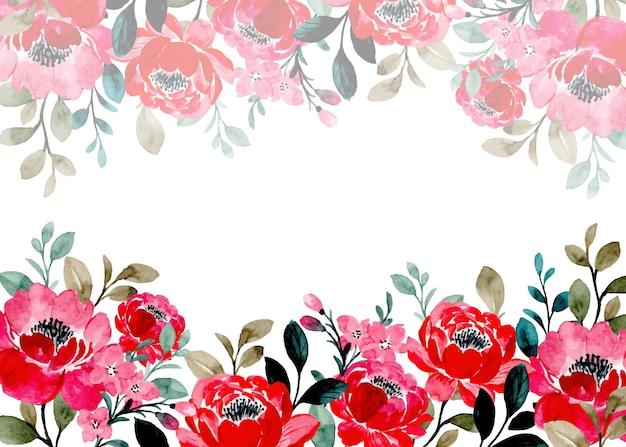 Fondo astratto floreale rosso con l'acquerello