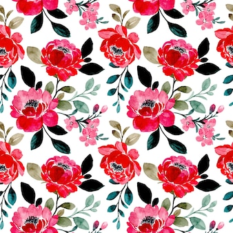 Reticolo senza giunte dell'acquerello floreale rosso
