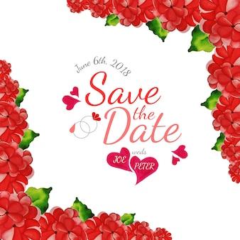 Scheda di invito nuziale floreale rosso