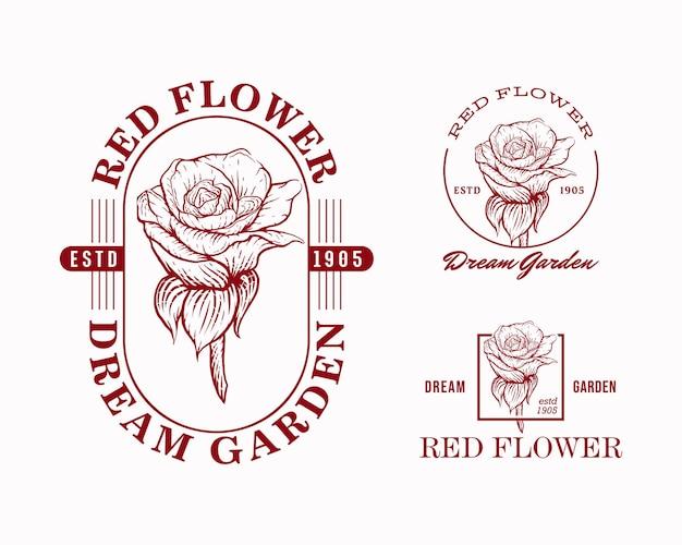 Modelli di progettazione del logo dell'emblema del fiore rosso