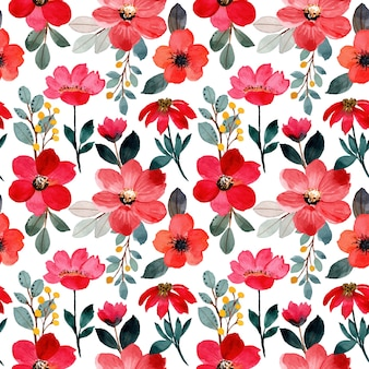 Reticolo senza giunte dell'acquerello fiore rosso