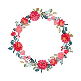 Corona dell'acquerello fiore rosso